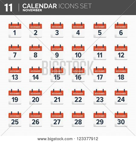 Vector illustration. Calendar icons set.  Date and time. November.