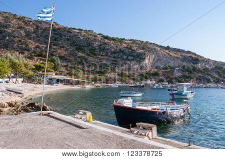 Boats at Agios Nikolaos port on Zakynthos Greece