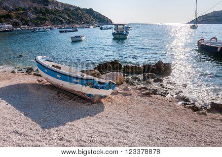 Boat on the beach at Agios Nikolaos port Zakynthos Greece