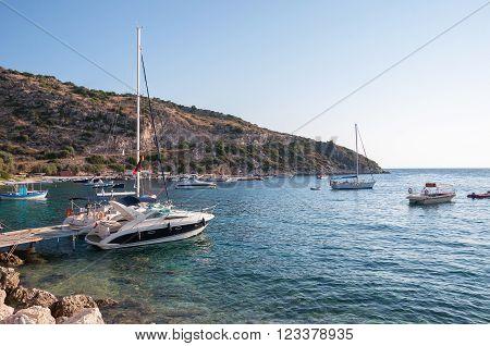 Yachts in Agios Nikolaos port on Zakynthos Greece