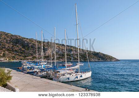 Yachts moored at Agios Nikolaos port Zakynthos Greece