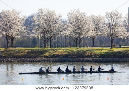 OAK RIDGE, TN - MARCH 18: Rowing teams from the United States and Canada take part in spring training at the marina at Melton Lake on March 18, 2016 in Oak Ridge, TN.