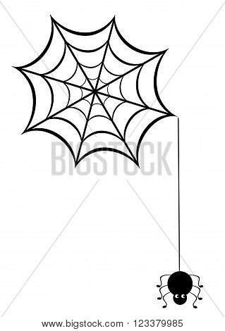 vector illustration of a spider web with funny spider