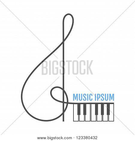 Music logo treble clef, piano keys. Music icon. Vector illustration
