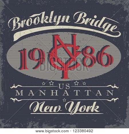 New York t-shirt graphics, Vintage Denim Apparel typography, Artwork stamp print. Retro wear tee print design