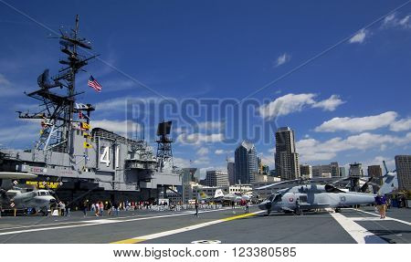 SAN DIEGO California USA - March 13 2016: aircraft carrier USS Midway (CV-41) flying deck museum in San Diego harbour USA