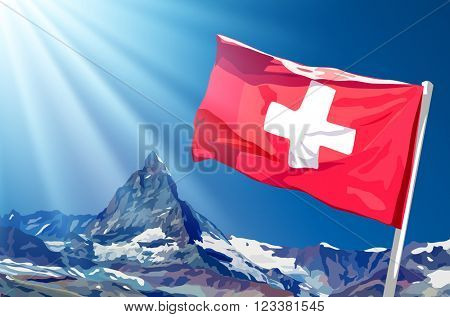 Swiss flag on blue sky and mountains background with sunlight