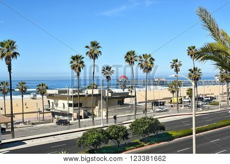 HUNTINGTON BEACH, CA - MARCH 25, 2015: Huntington Beach pier and coastline seen from the Pacific City Development.