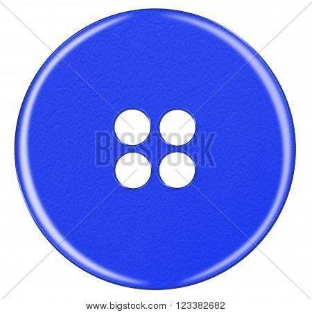 Plastic Button Isolated - Dark Blue