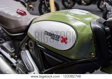 March 24th, 2016: Ducati Scrambler in a motorcycle showroom