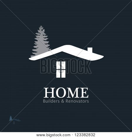 Real Estate Vector Icon. Business sign template for Real Estate, brokerage, building & renovation businesses. Visualization of business concept. Image may be used as web site or business card element.