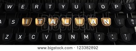 Typewriter with gold buttons in a row, assembling  ITALIAN  word