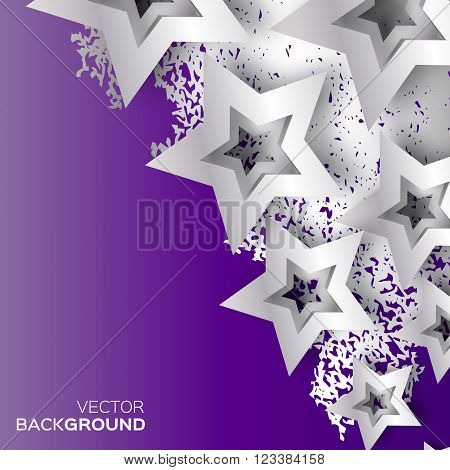 Abstract Origami Silver Stars on purple vector background. Cosmic falling shining stars. Trendy Illustration for design