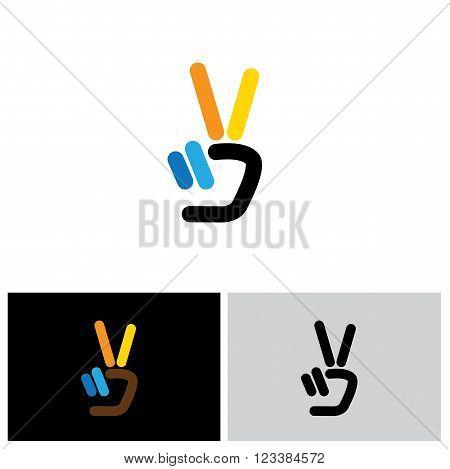 V Hand Victory Symbol Vector Logo Icon