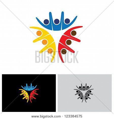 Team & Teamwork, Social Network, Community Logo Vector Icon.