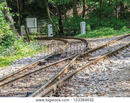Crossroads of a narrow gauge railway track