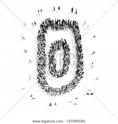 A group of people in the shape of a zero figure, cartoon, flashmob.3D illustration.black and white
