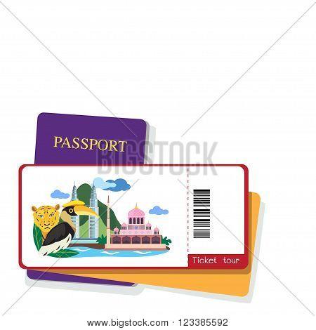 Passport and malaysia tourist ticket on white background.
