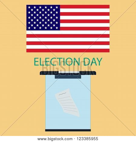 The poster to the day of voting in America. American flag and a ballot box in a flat style.