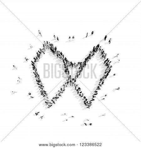 A group of people in the shape of a collar shirt, a flash mob.3D illustration.black and white