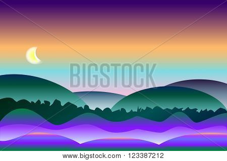 Peaceful and colorful night landscape vector background with foggy hills and sunset sky