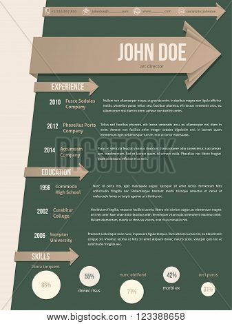 Modern resume cv curriculum vitae template with brown arrow ribbon