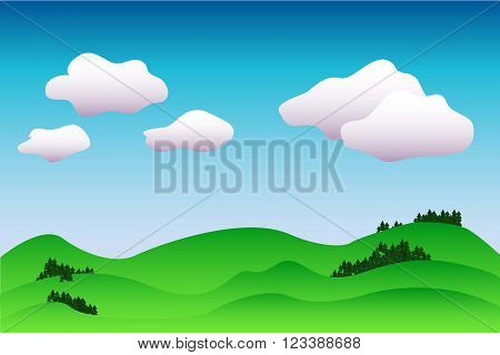 Colorful idyllic landscape vector background in blue and green, peaceful illustration with the place for text, wallpaper or postcard