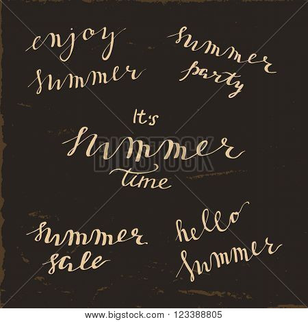 Summer set of simple hand lettering phrases. Enjoy summer, summer party, it's summer time, summer sale, hello summer