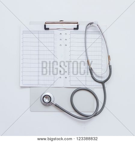 Medical stethoscope for check up on white background.