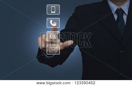 Businessman pressing telephone mobile phone at and email buttons over blue background Customer support concept