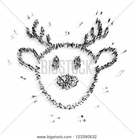A group of people in the shape of deer, christmas, flash mob.3D illustration.black and white