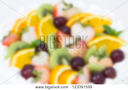 Abstract Blurred Of Fruit Short Cake On White Background