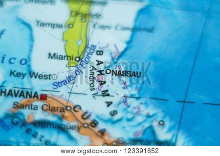 Photo of a map of Bahamas and the capital Nassau . ** Note: Shallow depth of field