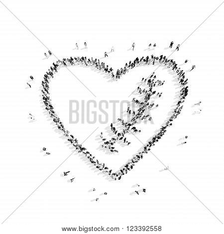 A group of people in the shape of the heart, scar , flash mob.3D illustration.black and white