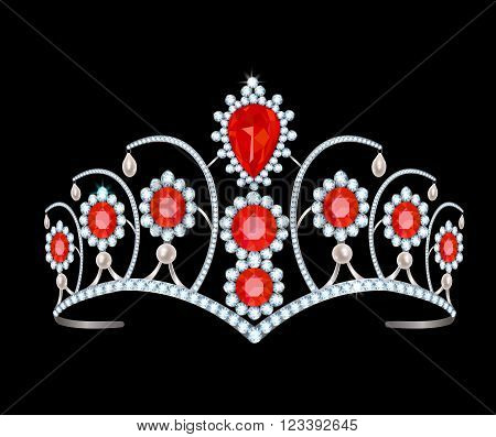 Diamond tiara with rubies and pearls on a black background
