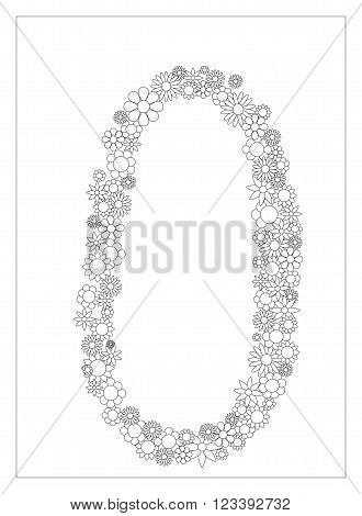 Floral number 0, number zero from flowers coloring page vector illustration, DIY postcard with the place for text, black and white flower ornament for typography
