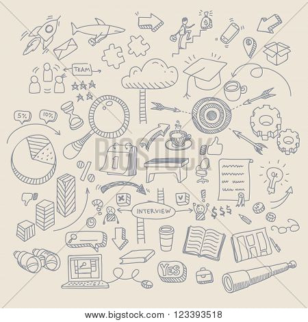 Concept of job search. Business doodles on white background. Flat design, vector illustration