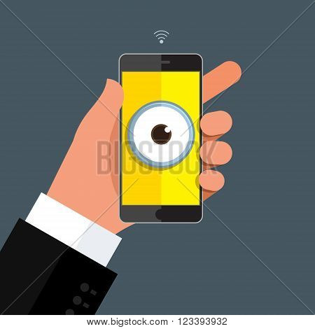 Privacy concept, hand holding smartphone with Eye on display. Mobile smart phone in hand on dark background. Flat design, vector illustration
