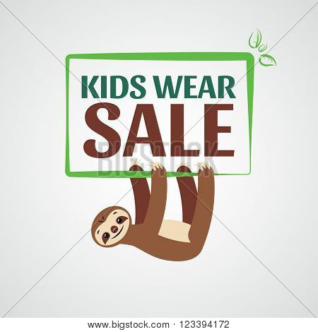 Label for sale. Sale of children's clothing wear. Sloth hangs beneath the text.
