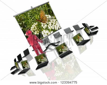 Man with presentation stand about nature white background.