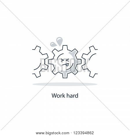Hard work funny concept, linear design illustration