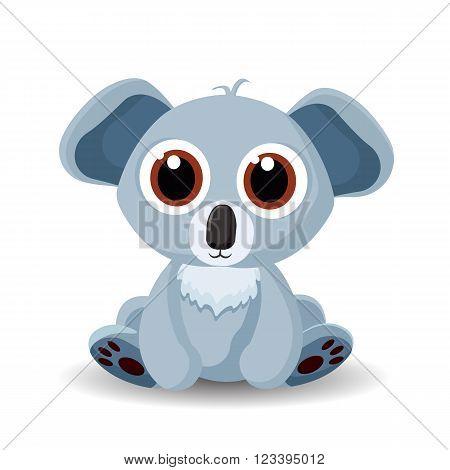 Sitting cute little koala bear isolated on white background. Vector illustration.