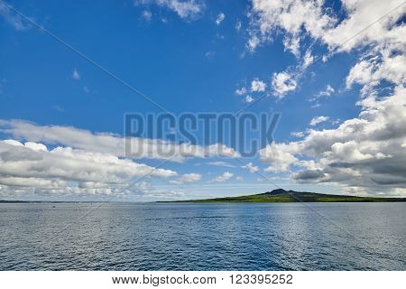 Rangitoto island - an extinct volcano off the coast in Auckland New Zealand