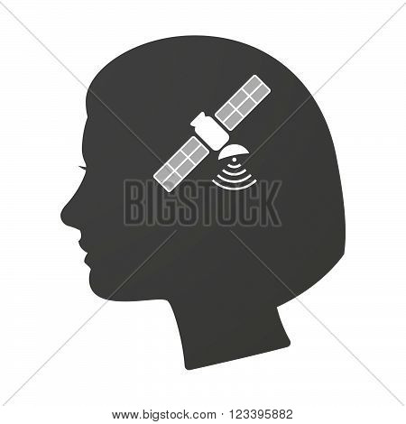 Isoalted Female Head Icon With A Satellite