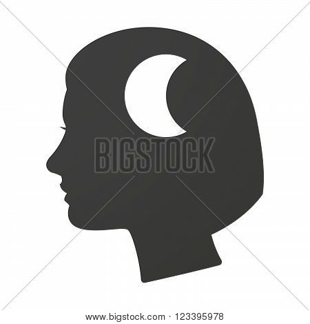 Isoalted Female Head Icon With A Moon