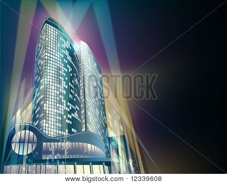 Night Background With Modern City Buildings