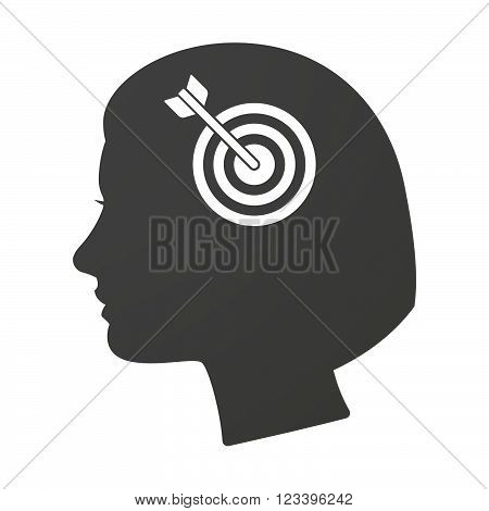 Isoalted Female Head Icon With A Dart Board