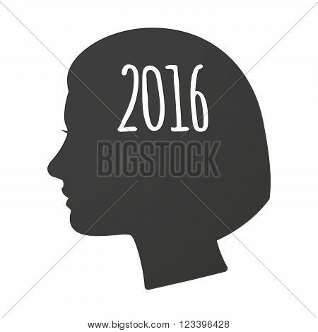 Isoalted Female Head Icon With A 2016 Sign