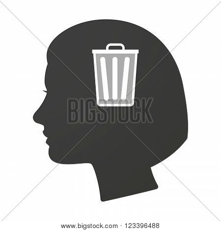 Isoalted Female Head Icon With A Trash Can