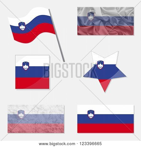 Flags of Slovenia Made in Different Variations: in Flat Design with Fabric Texture and as Web Buttons